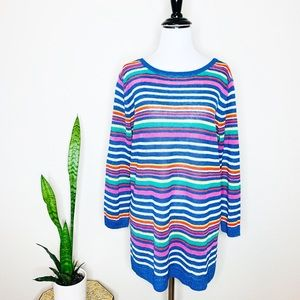 TALBOTS NWT Striped Colorful Linen Sweater $79